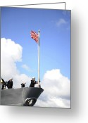 Flag Raising Greeting Cards - A Sailor Raises The First Navy Jack Greeting Card by Stocktrek Images