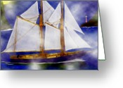 Sails Digital Art Greeting Cards - A Sailors Dream Greeting Card by Madeline M Allen