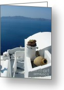 Planter Greeting Cards - A Santorini Welcome Greeting Card by Julie Palencia