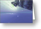Science Fiction Digital Art Greeting Cards - A Satellite Out In The Vast Beautiful Greeting Card by Corey Ford
