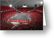 Stadium Greeting Cards - A Scarlet Stage Greeting Card by Kenneth Krolikowski