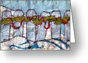 Fine Art Batik Tapestries - Textiles Greeting Cards - A Scarlet Thread Batik Greeting Card by Kristine Allphin