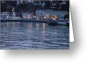San Francisco Bay Greeting Cards - A scenery of Sausalito at dusk Greeting Card by Hiroko Sakai