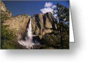 Yosemite Creek Greeting Cards - A Scenic View Of A Waterfall Greeting Card by Paul Nicklen