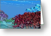Sea Life Digital Art Greeting Cards - A School Of Iridescent Blue Tango Fish Greeting Card by Corey Ford