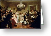Posh Painting Greeting Cards - A Schubert Evening in a Vienna Salon Greeting Card by Julius Schmid