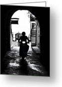 Back-light Greeting Cards - a scooter rider in the back light in a narrow street in Italy Greeting Card by Joana Kruse
