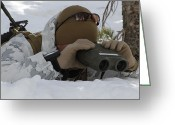 Snow On Field Greeting Cards - A Scout Sniper Watches To See Any Greeting Card by Stocktrek Images