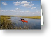 Paddles Greeting Cards - A Sea Kayaker And Fisherman Paddles Greeting Card by Skip Brown