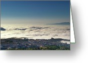 Tiled Roof Greeting Cards - A Sea of Mist 1 Greeting Card by Kenton Smith