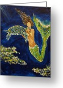 Mermaid Print Greeting Cards - A Sea Turtles Kiss Greeting Card by Leslie Allen