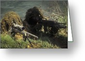 Firearms Photo Greeting Cards - A Seal Sniper Swim Pair Set Up An Greeting Card by Michael Wood
