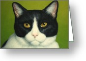 Green And White Greeting Cards - A Serious Cat Greeting Card by James W Johnson