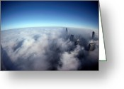 Structures Greeting Cards - A Shadow Of The Sears Tower Slants Greeting Card by Steve Raymer