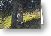 Shepherdess Painting Greeting Cards - A Shady Spot Greeting Card by Winslow Homer