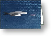 Animal Themes Digital Art Greeting Cards - A Shark Chasing A Smaller Fish Greeting Card by Jutta Kuss