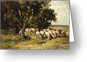 Resting Animals Greeting Cards - A shepherd and his flock Greeting Card by Charles Emile Jacques