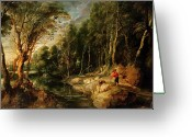 Rubens Painting Greeting Cards - A Shepherd with his Flock in a Woody landscape Greeting Card by Rubens