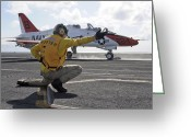 Jet Greeting Cards - A Shooter Launches A T-45 Goshawk Greeting Card by Stocktrek Images