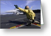 F-18 Greeting Cards - A Shooter Signals The Launch Of An Greeting Card by Stocktrek Images