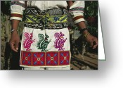 Madre Greeting Cards - A Shot Of A Huichol Mans Traditional Greeting Card by Maria Stenzel