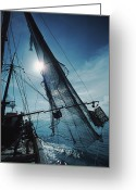Peoples Greeting Cards - A Shrimping Boat Off The Coast Greeting Card by Ira Block