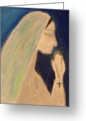 Nun Greeting Cards - A silent prayer in the night Greeting Card by Ty Agha