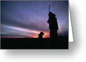 Domestic Scenes Greeting Cards - A Silhouetted Hunter And His Dog Greeting Card by Gordon Wiltsie
