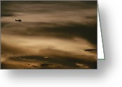 Key West Island Greeting Cards - A Small Airplane Flies Through A Cloudy Greeting Card by Raul Touzon