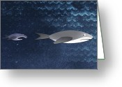 Animal Themes Digital Art Greeting Cards - A Small Fish Chasing A Shark Greeting Card by Jutta Kuss