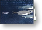 Sea Animal Greeting Cards - A Small Fish Chasing Three Sharks Greeting Card by Jutta Kuss