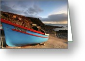 Cape Cornwall Greeting Cards - A small fishing boat Priests cove Cape Cornwall Greeting Card by Mark Stokes
