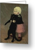Standing Painting Greeting Cards - A Small Girl with a Cat Greeting Card by TA Steinlen