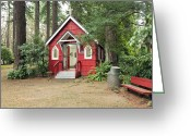 Quite Greeting Cards - A small red chapel in a forest Portland OR. Greeting Card by Gino Rigucci
