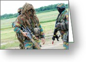 Camouflage Clothing Greeting Cards - A Sniper Of The Belgian Army Together Greeting Card by Luc De Jaeger