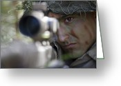 Firearms Photo Greeting Cards - A Sniper Sights In On A Target Greeting Card by Stocktrek Images