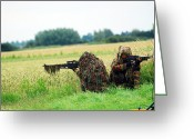 Camouflage Clothing Greeting Cards - A Sniper Unit Of The Paracommandos Greeting Card by Luc De Jaeger