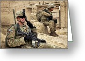 Suspicion Greeting Cards - A Soldier Calls In Description Greeting Card by Stocktrek Images