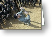 Cheering Greeting Cards - A Soldier Climbs A Rope On An Obstacle Greeting Card by Stocktrek Images