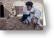 Suspicion Greeting Cards - A Soldier Collects Information Greeting Card by Stocktrek Images
