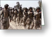 Iraq Greeting Cards - A Soldier Marches His Troops Greeting Card by Stocktrek Images