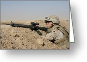 Mound Greeting Cards - A Soldier Positions Himself On Top Greeting Card by Stocktrek Images