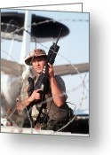 Operation Desert Storm Greeting Cards - A Soldier Posts Security Greeting Card by Stocktrek Images