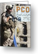 Uniforms Greeting Cards - A Soldier Provides Security Greeting Card by Stocktrek Images