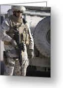 Iraq Greeting Cards - A Soldier Stands Alert As He Provides Greeting Card by Stocktrek Images