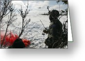 Transceiver Greeting Cards - A Soldier Uses Red Smoke To Signal Greeting Card by Stocktrek Images