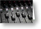Panel Greeting Cards - A Sound Mixing Board, Close-up, Full Frame Greeting Card by Tobias Titz