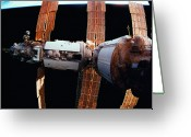 Strike Greeting Cards - A Space Station In Orbit Above The Earth Greeting Card by Stockbyte