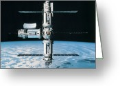 Research Greeting Cards - A Space Station In Orbit Greeting Card by Stockbyte