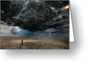 Storm Digital Art Greeting Cards - A Space Traveler in an Alien World Greeting Card by Carol and Mike Werner